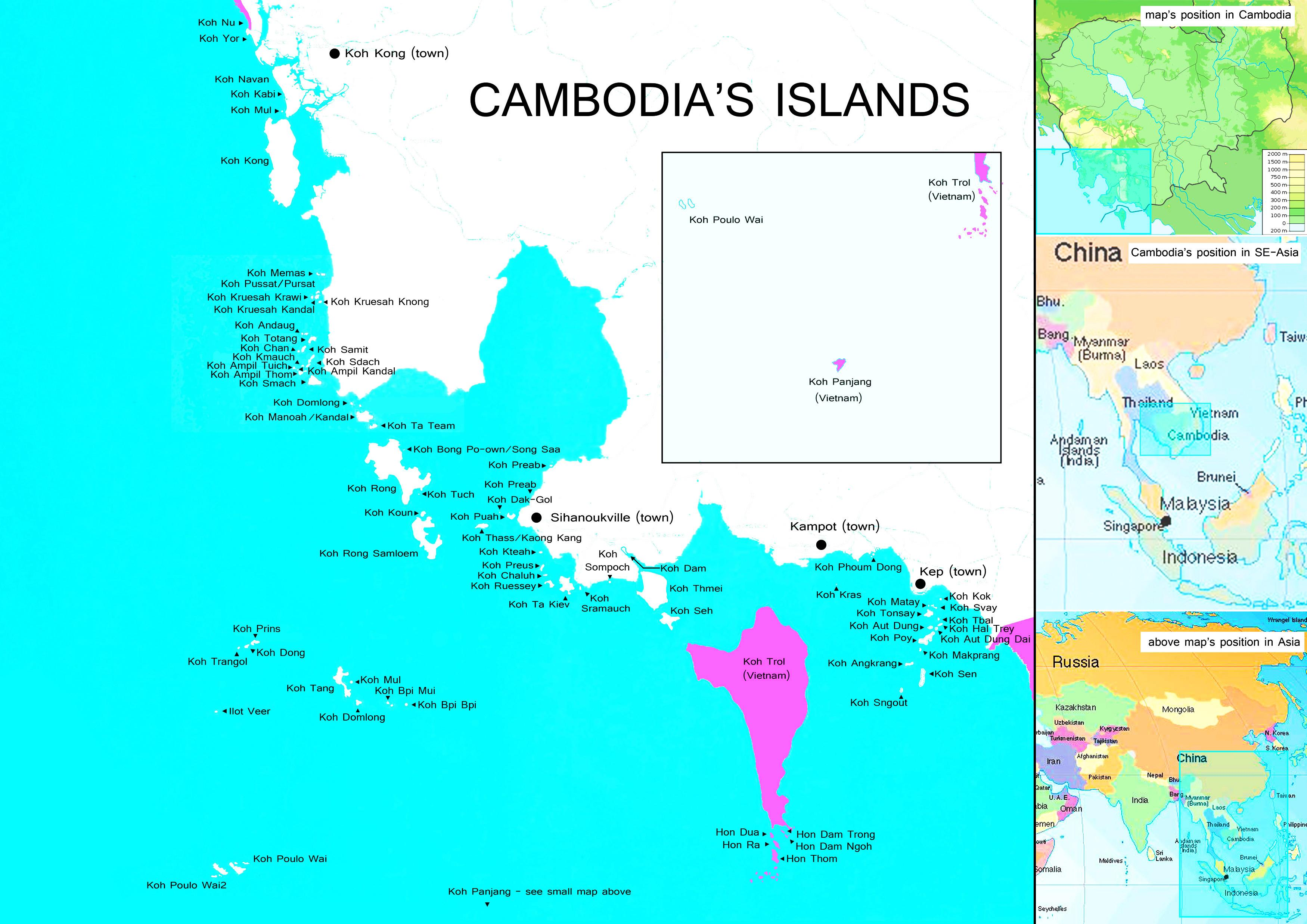 Cambodia islands map - Map of Cambodia islands (South-Eastern Asia ...
