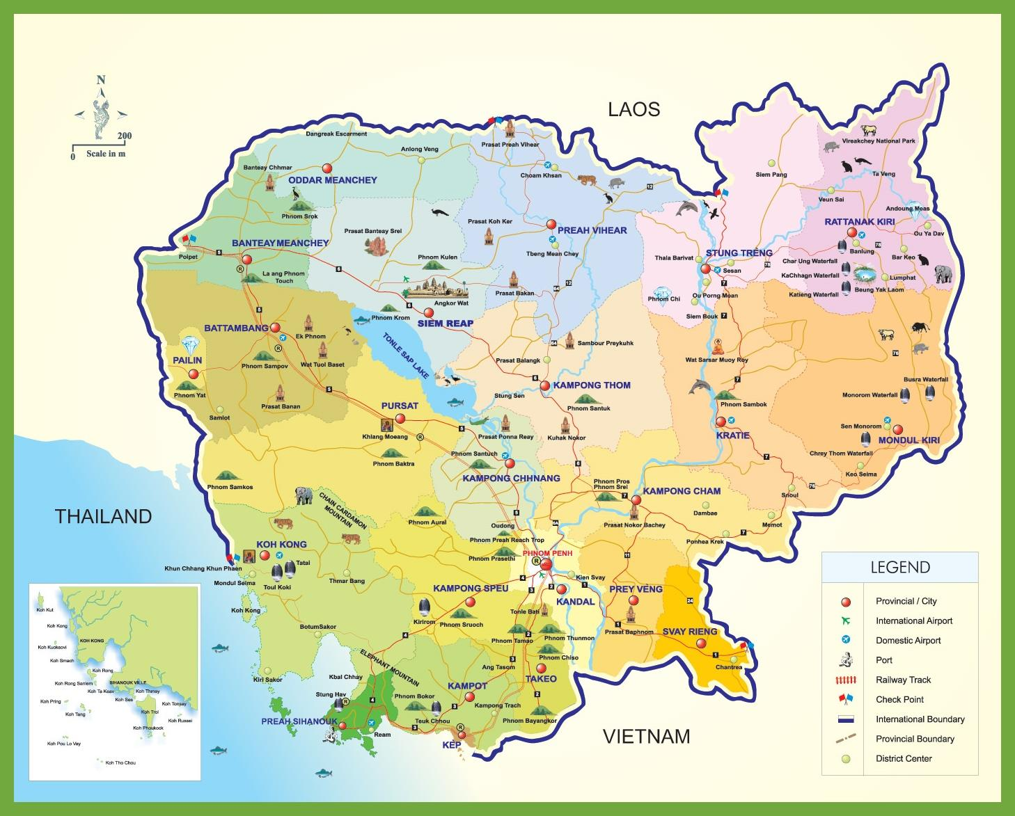 Cambodia tourist map - Cambodia travel map (South-Eastern ...