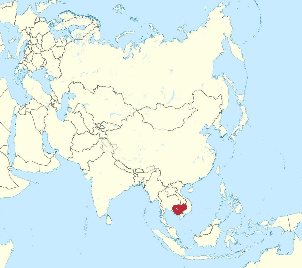 Cambodia map in asia   Map of Cambodia in asia (South Eastern Asia