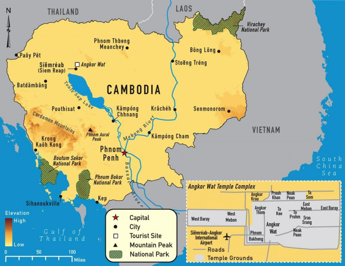 Cambodia mountains map - Map of Cambodia mountains (South-Eastern ...