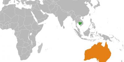Cambodia map in world map